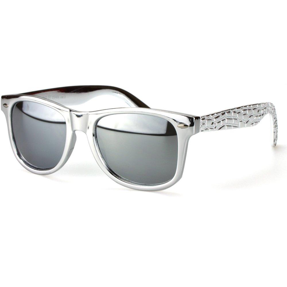 Sense42 Retro Sonnenbrille mit Bügel im Alligator Design Grün, grün verspiegelte Gläser Nerdbrille Wayfarer-Stil Damen Herren Unisex mit Brillenbeutel