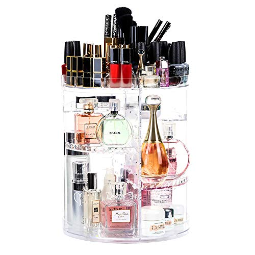 Crystal Clear Cosmetics - LILEZBOX Makeup Organizer, Large 360 Degree Rotating Makeup Storage with Adjustable Layer, Multi-Function Fits Cosmetics, Brushes,Lipsticks and Creams for Bathroom, Bedroom and Closet - Crystal Clear