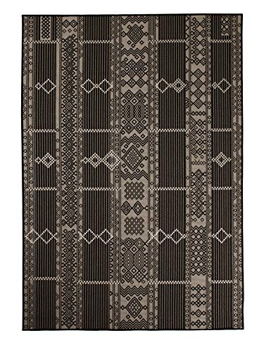 Garden and Outdoor Furnish My Place Outdoor Collection Geometric Pattern Rug – 5 ft. 3 in. x 7 ft. 6 in. Black, Bohemian Water Proof Carpet… outdoor rugs