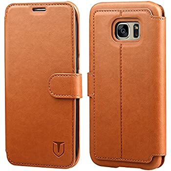 Galaxy S7 Edge Case, TANNC Flip Leather Wallet Phone Case [Layered Dandy] - [Card Slot][Flip][Wallet] - Case for SAMSUNG Galaxy S7 Edge Devices - Light Brown