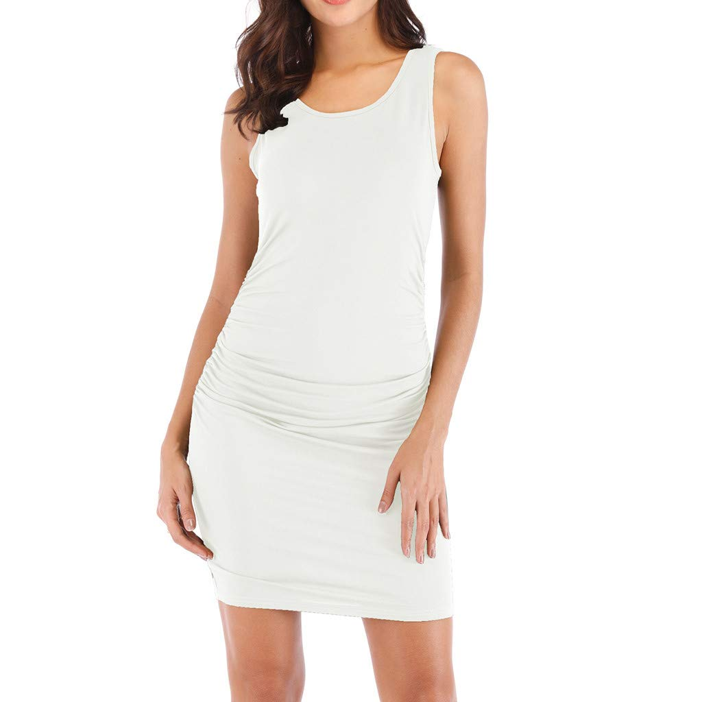 Kalinyer Women's Sexy Ruched Bodycon Dress Casual Solid Sleeveless Round Neck Knee Length Tank Mini Party Club Dress White