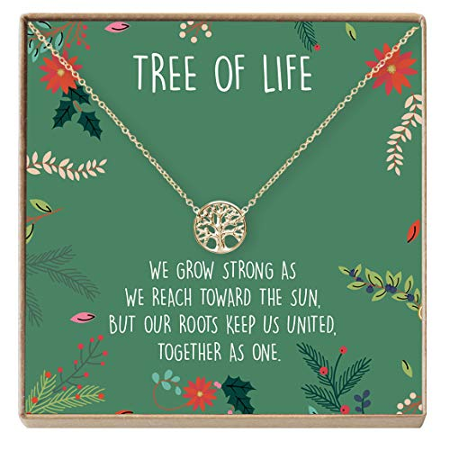 Dear Ava Tree of Life Necklace Gift: Family Tree Necklace, Pendant, Charm, Generations, Tree (Gold-Plated-Brass, NA)