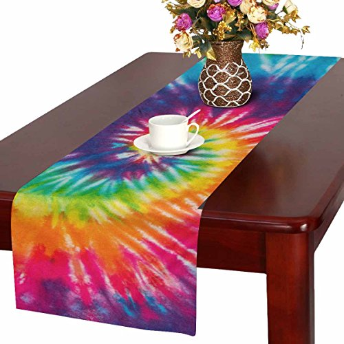 InterestPrint Abstract Rainbow Spiral Tie Dye Table Runner Linen & Cotton Cloth Placemat Home Decor for Kitchen Dining Wedding Party 16 x 72 Inches -