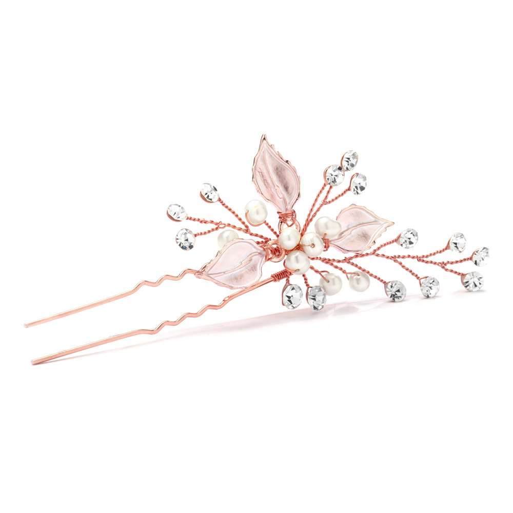 Mariell Handmade Rose Gold Bridal Hair Pin Stick - Silvery Leaves, Freshwater Pearls & Crystal Sprays