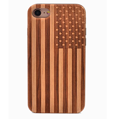 (iPhone 7 Wood Case American Flag US Handmade Carving Real Wood Case Wooden Case Cover with Soft TPU Back for Apple iPhone 7 ,iphone 8 (2017))