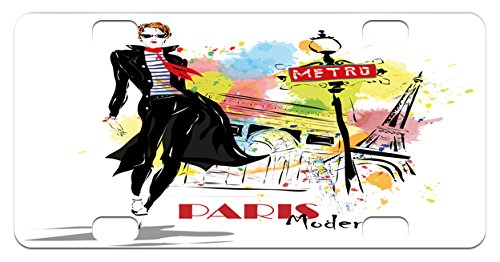 Girls Mini License Plate by Lunarable, Aesthetic Fashion Woman in Clothing Walking in Paris Streets Urban City Life Theme, High Gloss Aluminum Novelty Plate, 2.94 L x 5.88 W Inches, - Paris Aesthetic