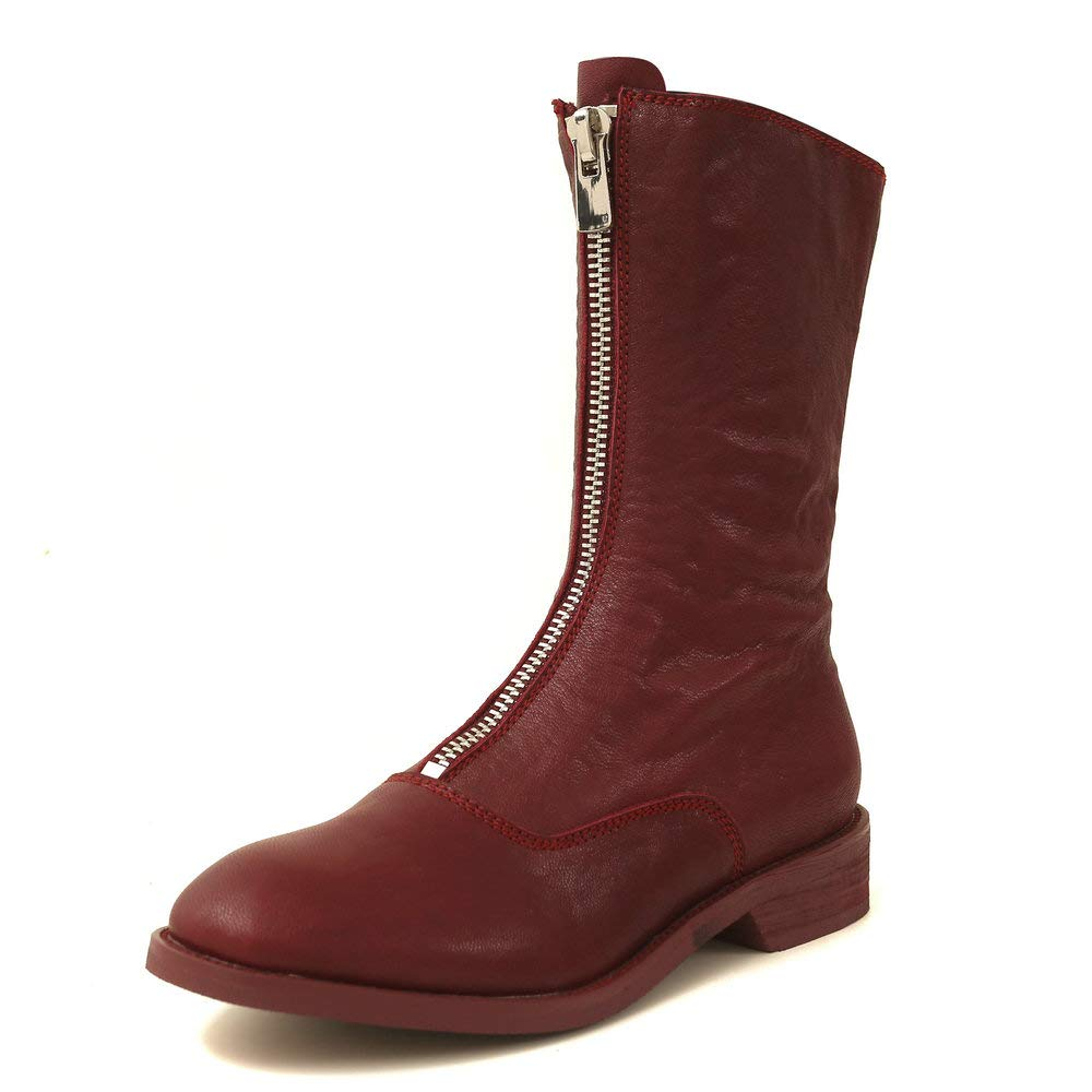 Wine Red AnMengXinLing Fashion Mid Calf Flat Boot Women Genuine Leather Round Toe Front Zipper Casual Low Heel Knight Boot shoes