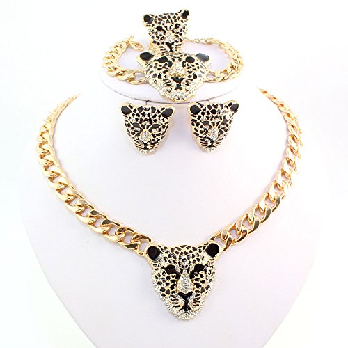 Cool Leopard Head Bracelet Earrings Necklace Ring Set 18k Gold Plated Rhinestone Chunky Curb Chain Costume African Jewelry Sets (Jewelry Set) by wang