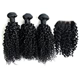 "Ohlees® 6A Cheap Brazilian Virgin 3bundle Hair Weave Weft Afro Kinky Curly Human Hair Extension 1 Bundle Lace Frontal Closure 4*4 (10""10""10""+10"")"