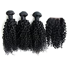 """Ohlees® 6A Cheap Brazilian Virgin 3bundle Hair Weave Weft Afro Kinky Curly Human Hair Extension 1 Bundle Lace Frontal Closure 4*4 (10""""10""""10""""+10"""")"""
