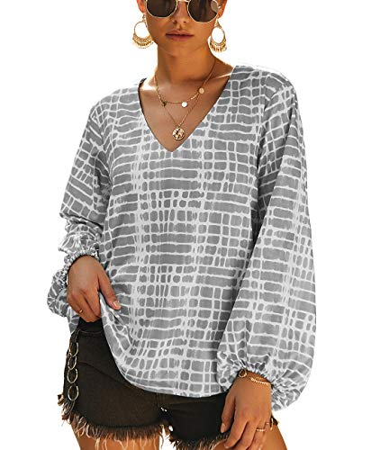 PRETTYGARDEN Women's Casual V Neck Lantern Long Sleeve Printed Retro Loose Pullover Blouse Tops (Grey, Large) ()