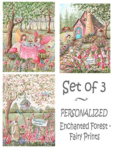 Personalized Fairy Wall Art, Set Of 3, Tea Party, Enchanted Forest, Custom Girl's Name & Hair Color ()