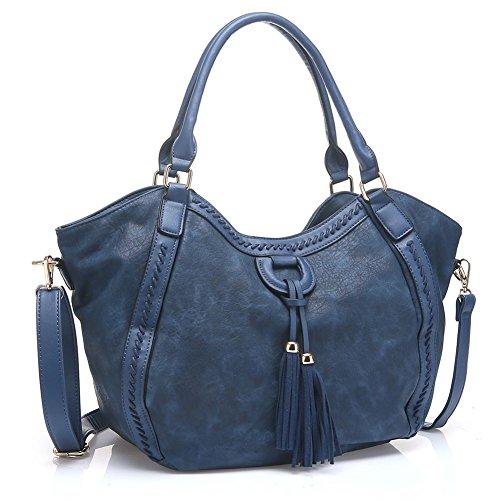 UTAKE Women Handbags Leather Handbags Shoulder Bag PU Leather Bag Large Tote Bag UT59 Blue (Blue Leather Handbags)