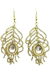 "Glamorous Gold Tone 2.5"" Dangle Crystal Peacock Feather Earrings with Tiny Imitation Pearls"