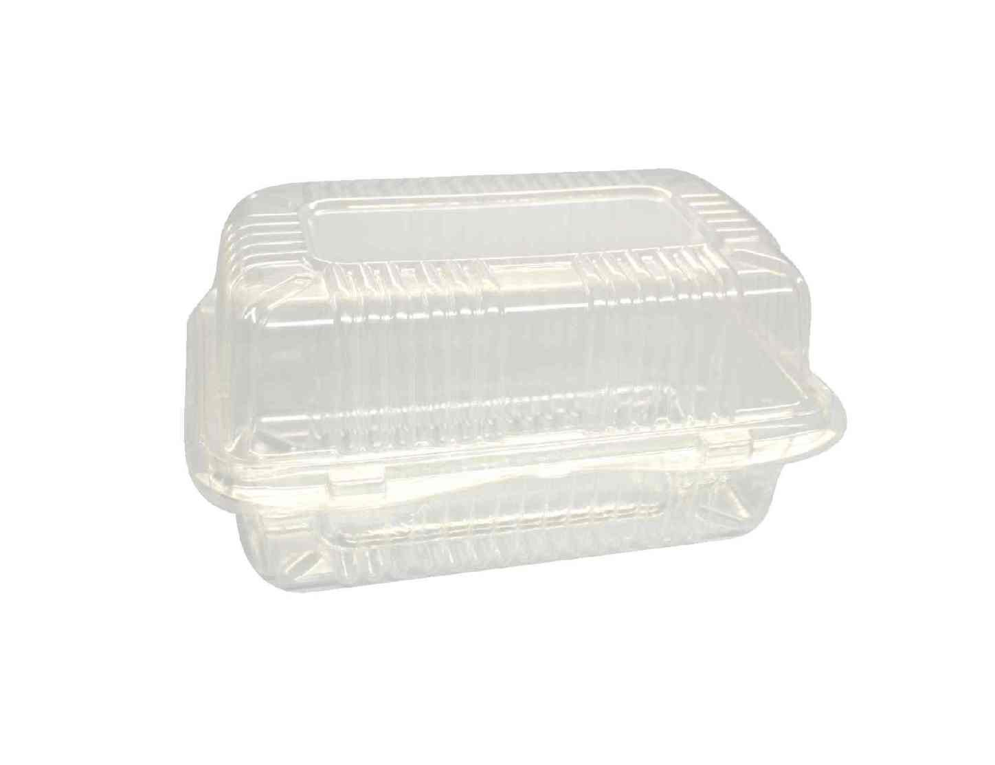Choice-Pac L1P-1203 Polyethylene Terephthalate Medium Clamshell Container with 2 Button Front Closure, 8-1/2