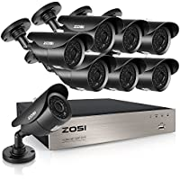 ZOSI 8-Channel HD-TVI 1080N Video Security System with 8x 1280TVL 720P Weatherproof Bullet Surveillance Camera NO Hard Drive ,42pcs IR Leds, 120ft(40m) Night Vision (Aluminum casing)