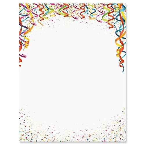 Celebration Confetti Birthday Party Letter Papers - Set of 25, Birthday Party Stationery Papers, 8 1/2