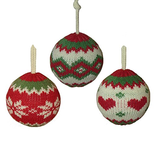 Pack of 24 Red, Green and Ivory Snowflakes & Hearts Decorative Knitted Christmas Ball Ornaments 3.5'' by KSA (Image #1)