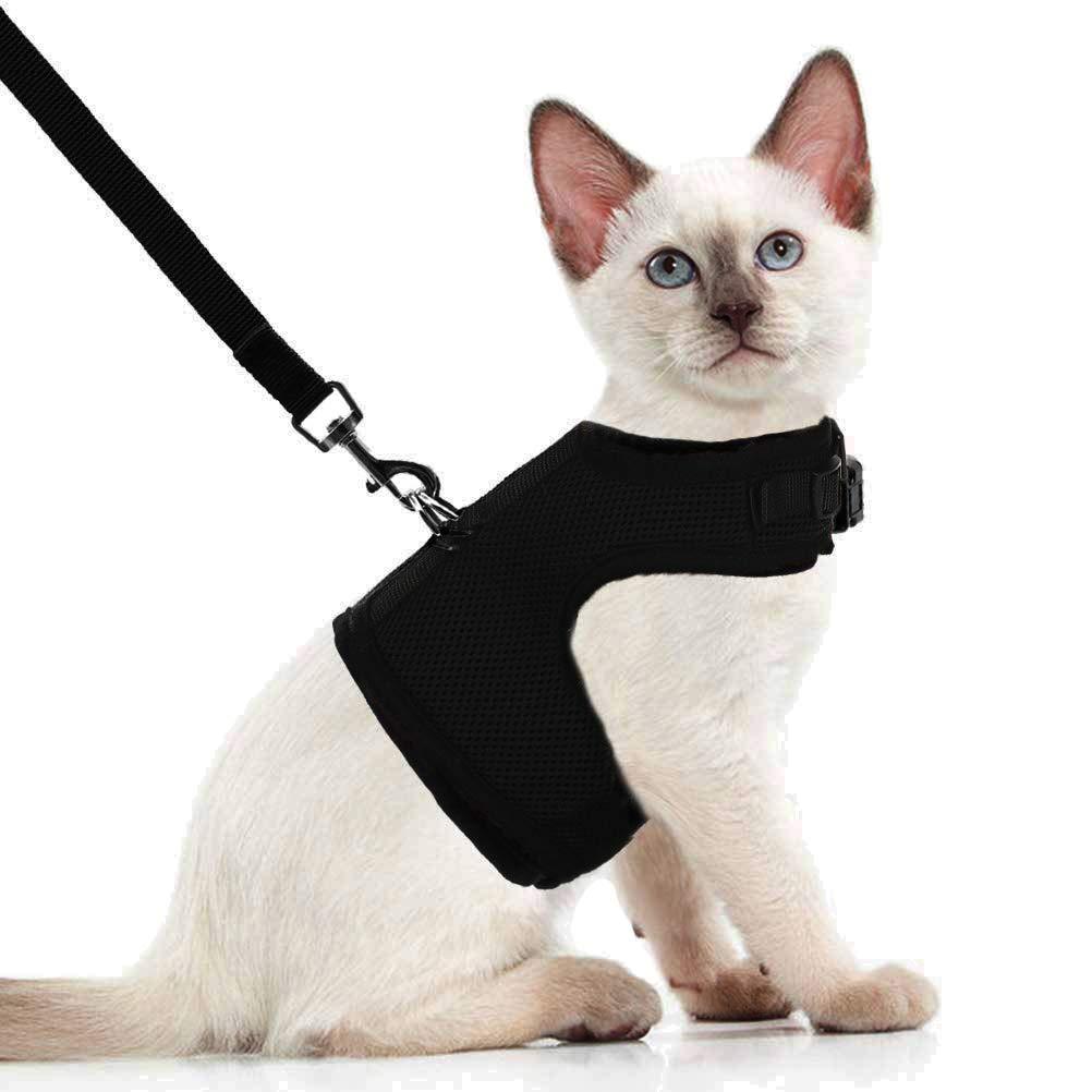 BEIJIA Escape Proof Cat Vest Harness with Leash – Adjustable Soft Mesh Comfort Fit for Pet or Puppy Dog Rabbit