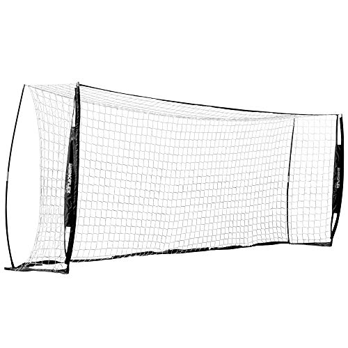 Champion Sports Portable Soccer Goal: Rhino Flex Youth Soccer Goal Net with White Netting, Black Frame, Ground Stakes and Carry Bag - 6'5