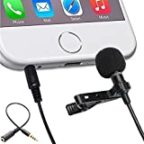 Lavalier Microphone Clip-on lapel Omnidirectional Condenser Mic for Apple iPhone,Samsung Android and Windows Smartphones Podcast Phone Video Recording-Noise Cancelling Microphone