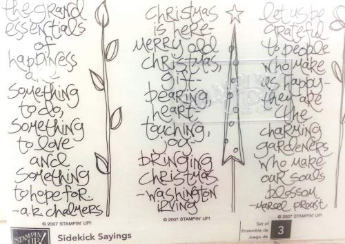 Stampin Up! SIDEKICK SAYINGS Set of 3 Unmounted Retired Christmas Theme Rubber Stamps