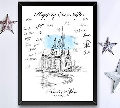 Disney World Castle Fairytale Wedding Guest Book Alternative (Guestbook Sizes: 13
