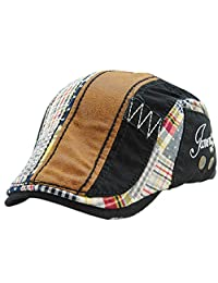 FULIER Unisex Beret Newsboy Cap Casual Wild Splice Forward Hat for Men Women