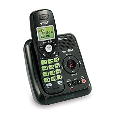 VTech VA17241BK DECT 6.0 Cordless Phone with Answering System and Caller ID, 1 Handset, Black