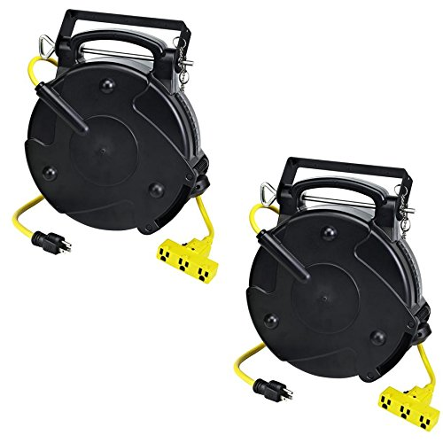 Case of 2 Industrial Heavy Duty 12/3 Retractable Extension Cord Reel W/ Tri-Tap by Pro-Reel