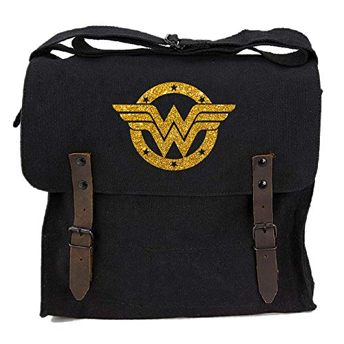 Wonder Woman Logo Heavyweight Canvas Medic Shoulder Bag, Black & Glitter Gold