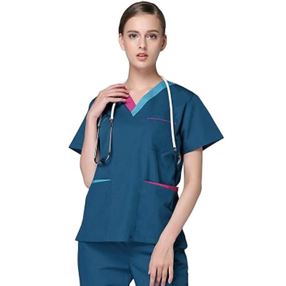 ff8f62dc52b QZTG Medical coat Plus Size Women's V Neck Summer Nurse Uniform Hospital  Medical Scrub Set Clothes Short Sleeve Surgical Scrubs,Green, M:  Amazon.co.uk: ...