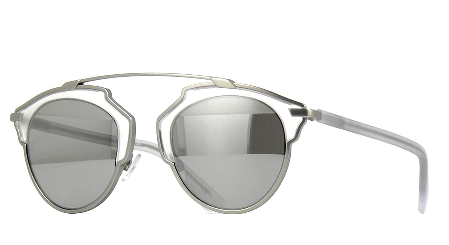 da90d6fa78 Amazon.com  New Christian Dior SO REAL RMR LR Matte Silver Crystal Silver  Sunglasses  Clothing