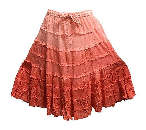 Yoga Trendz Missy Plus Bohemian Gauze Cotton Tiered Crinkled Broomstick Skirt Ombre Mid Length (No10 Coral)