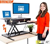 FlexPro Power Electric Standing Desk | Electric Height-Adjustable Stand up Desk | By Award Winning Stand Steady! Holds 2 Monitors! | Easy Quiet Adjustments! (Black) (32'')
