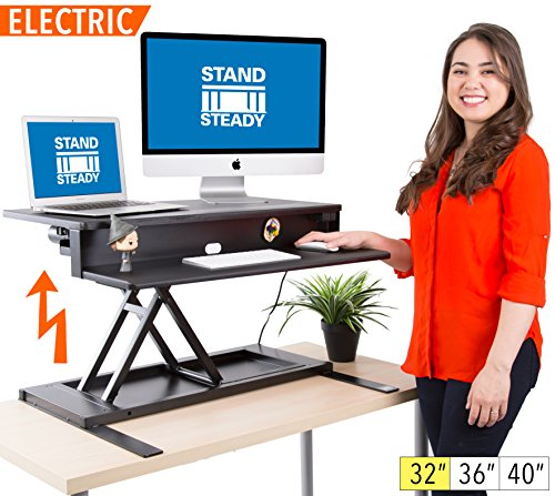 FlexPro Power Electric Standing Desk | Electric Height-Adjustable Stand up Desk | By Award Winning Stand Steady! Holds 2 Monitors! | Easy Quiet Adjustments! (Black) (32