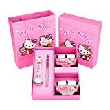 Hello Kitty Children's Cartoon Tableware Gift Box, Stainless Steel Bowl(set of 2), Chopsticks, Spoon.