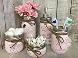 Painted Mason Jar Bathroom Set 0f 5 | Powder PINK Rustic Distressed Farmhouse Decor Bathroom Soap Dispenser | Painted Mason Jar | Burlap Bowtique
