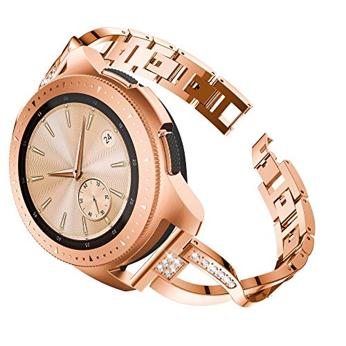 CSSD Fashion Replacement Metal Crystal Watch Straps Wrist Bands for Samsung Galaxy Watch (42mm) (Rose Gold)