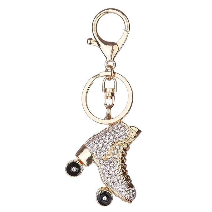 Republe Patines de ruedas de zapatos de cristal Llavero bolso Keys colgante llavero Titular del Rhinestone: Amazon.es: Ropa y accesorios