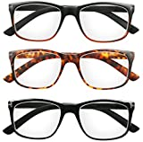 Reading Glasses 3 Pack Great Value Quality Readers for Men and Women Fashion Spring Hinge Glasses for Reading +1.5