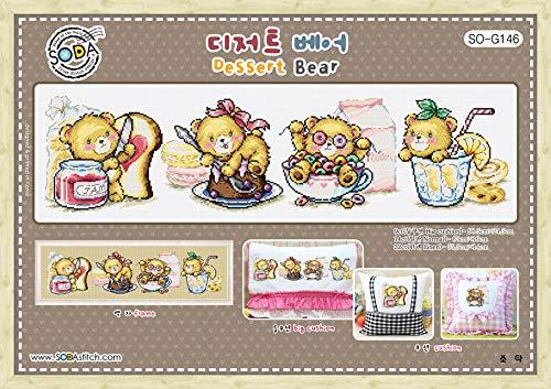 SO-G146 Dessert Bear, SODA Cross Stitch Pattern Leaflet, Authentic Korean Cross Stitch Design, Cross Stitch Pattern Chart, Color Printed on Coated Paper ()