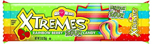 AirHeads Xtremes Sweetly Sour Candy Belts, Rainbow Berry, Non Melting, 3 Ounce