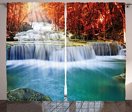 Waterfall Decor Curtains by Ambesonne, Majestic Gradual Waterfall Circled by Red Fall Trees with Radiate of Sun, Living Room Bedroom Window Drapes 2 Panel Set, 108W X 84L Inches, Blue and Red ()