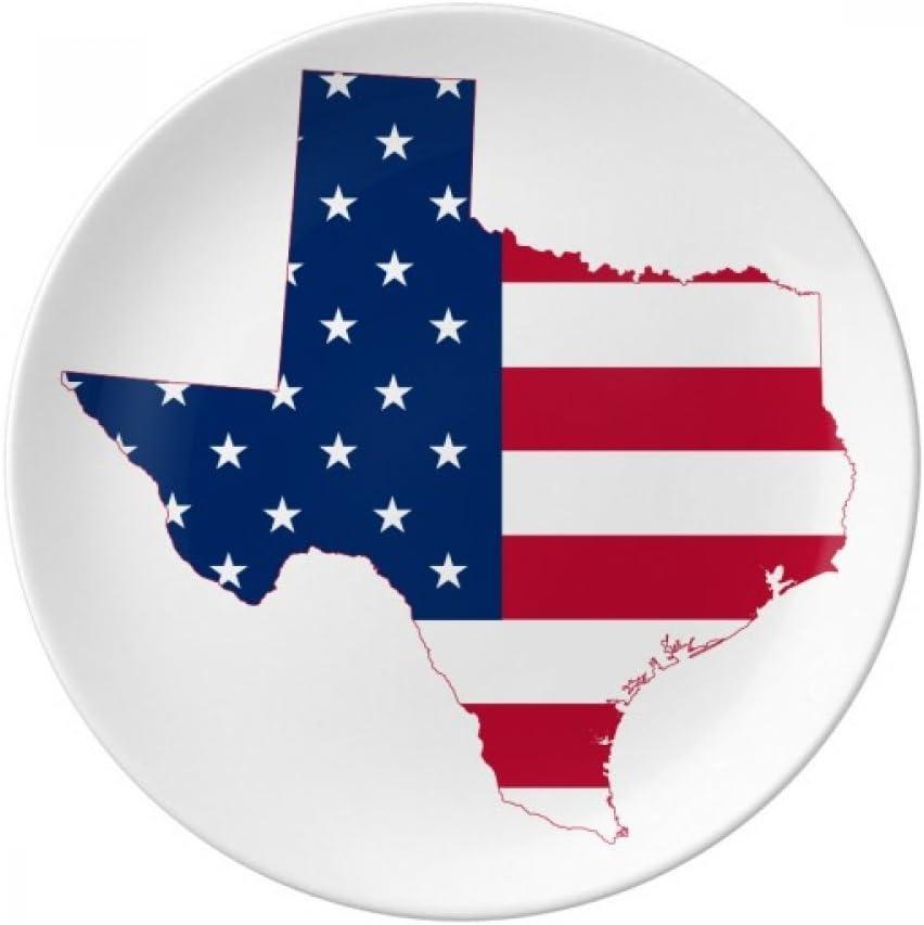 Texas USA Map Stars Stripes Flag Shape Dessert Plate Decorative Porcelain 8 inch Dinner Home