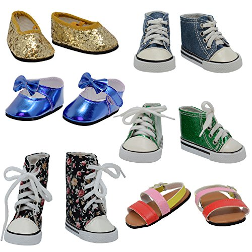 (The New York Doll Collection D358 6 Pairs of Doll Shoes Fits 18