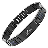 DAD Titanium Bracelet Engraved Love You Dad with Blue Carbon Fiber Adjusting Tool & Gift Box Included