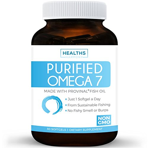 Best Purified Omega 7 Oil - Provinal Omega 7 (NON-GMO) All The Palmitoleic Acid EE Your Body Needs – Made From Peruvian Anchovy Fish - High Potency One Month Supply - 30 Softgels