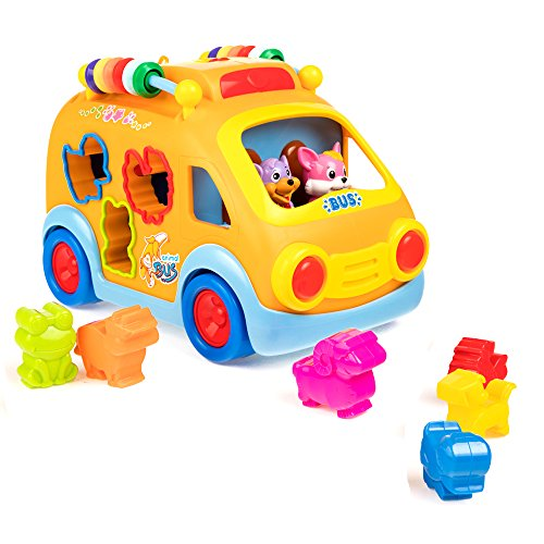 Push Pull Vehicle Toy Musical Bus Electronic Car Toys for Baby Toddlers Kids