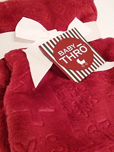 1st Baby Blanket (Thro Decorative Luxury Embossed Fleece Blanket for Baby's First Christmas (Chili Pepper Red) Holiday 30